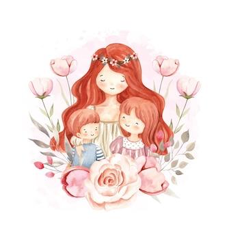 Aquarela mãe e filhos