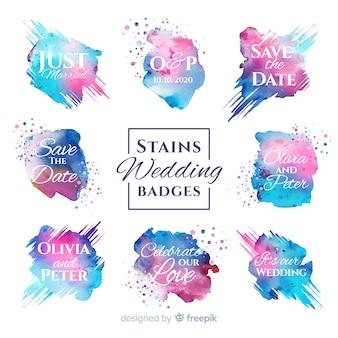 Aquarela manchas coleção de distintivos de casamento