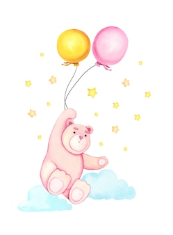 Aquarela mão desenhada bonito dos desenhos animados urso com o balão no ar.