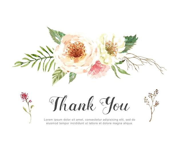 Aquarela mão desenhada cartão de agradecimento.