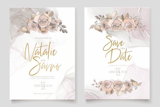 Aquarela mão desenhada floral e folhas conjunto de cartão
