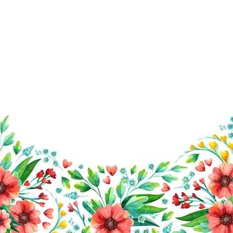Aquarela mão desenhada flores da primavera - moldura quadrada vazia.
