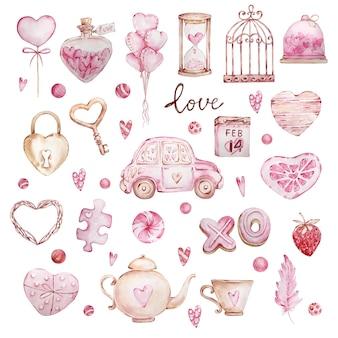 Aquarela mão desenhada grande conjunto de corações doces, carro, pena, cadeado, chave isolado no fundo branco