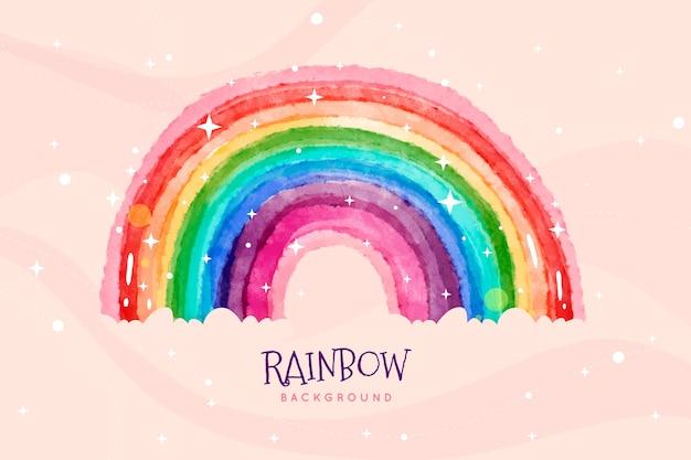 Aquarela mão pintada arco-íris