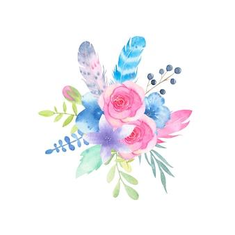 Aquarela mão pintada buquê de flores e folhas isoladas no branco