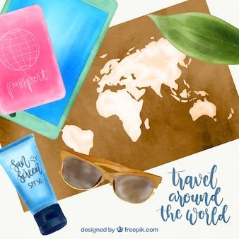 Aquarela mapa com elementos de viagem