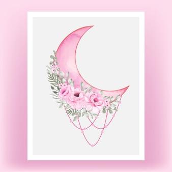 Aquarela meia lua rosa sombra com flor rosa