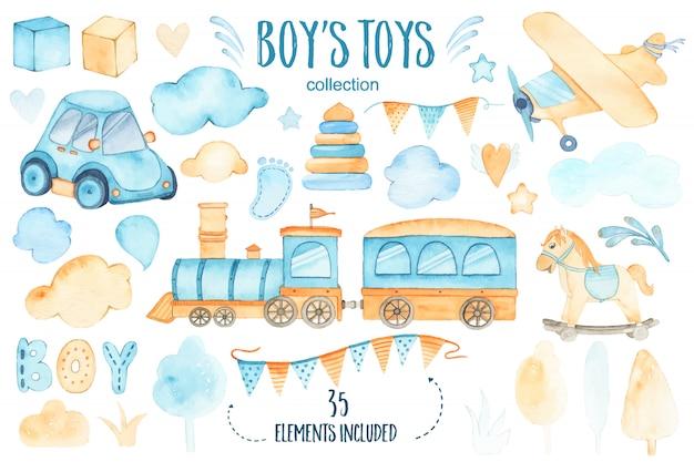 Aquarela meninos brinquedos bebê chuveiro conjunto com carro avião trem guirlanda e árvores nuvens