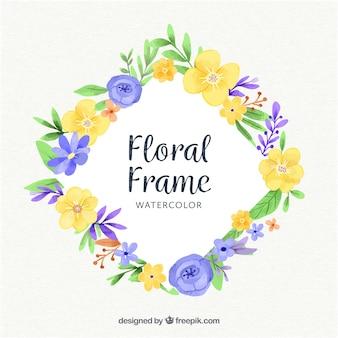 Aquarela moldura floral com design encantador