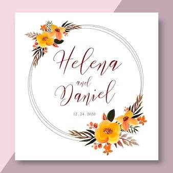 Aquarela moldura floral, coroa de flores do anel