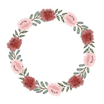 Aquarela moldura floral em design de coroa de flores vermelha e rosa