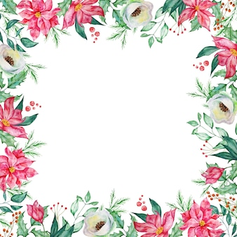 Aquarela moldura quadrada de natal com ramos de abeto e pinheiro de inverno, bagas e flores vermelhas e brancas de inverno.