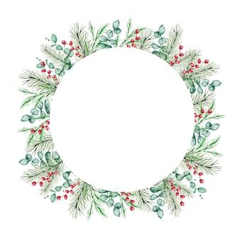 Aquarela moldura redonda de natal com ramos de pinheiro e abeto de inverno