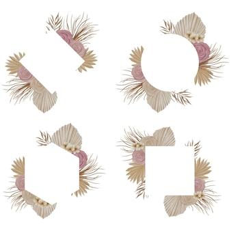 Aquarela moldura tropical com folha de palmeira e flor rosa