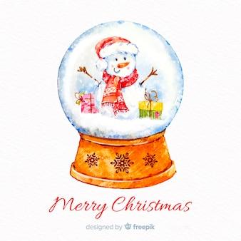 Aquarela natal bola de neve globo fundo