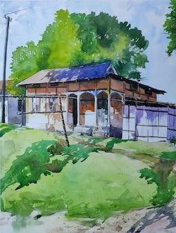 Aquarela natureza e bela casa na vista superior ilustração desenhada à mão paisagem