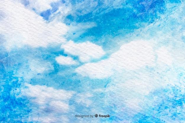 Aquarela nuvens no céu azul