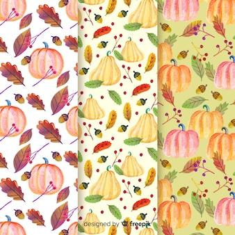 Aquarela outono coleção padrão com folhas