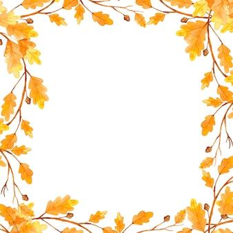 Aquarela outono folha quadro carvalho.