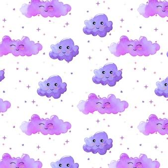 Aquarela padrão com nuvens