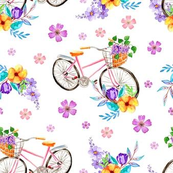 Aquarela padrão floral com bicicleta
