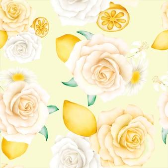 Aquarela padrão floral com limões