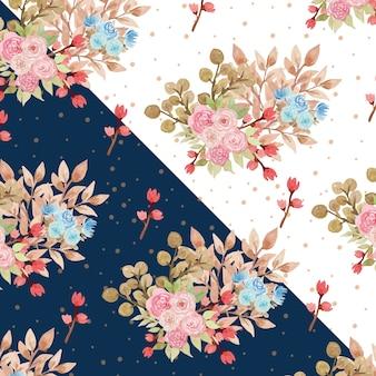 Aquarela padrão floral com lindas rosas azuis e rosa