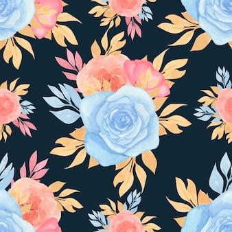 Aquarela padrão sem emenda com flores coloridas