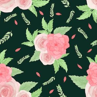Aquarela padrão sem emenda com rosas e suculentas