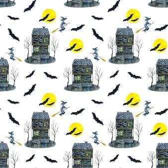 Aquarela padrão sem emenda de halloween com casa mal-assombrada e morcegos