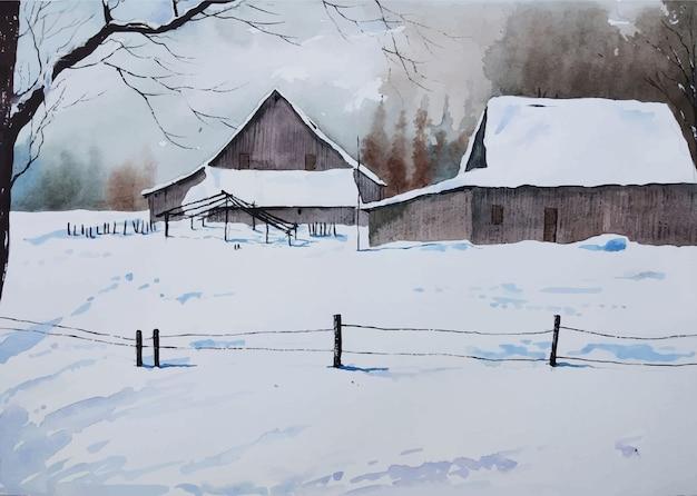 Aquarela paisagem de inverno em casa desenhada à mão