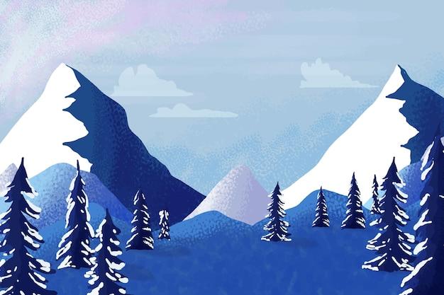 Aquarela paisagem de montanhas de inverno