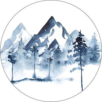 Aquarela paisagem em cores azuis com montanhas, pinheiros e neblina