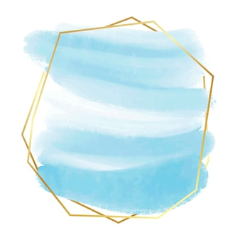 Aquarela pastel com moldura dourada Vetor grátis