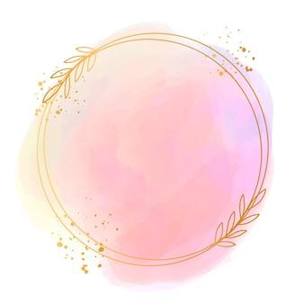 Aquarela pastel com moldura dourada