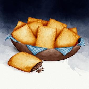 Aquarela pastel de comida brasileira