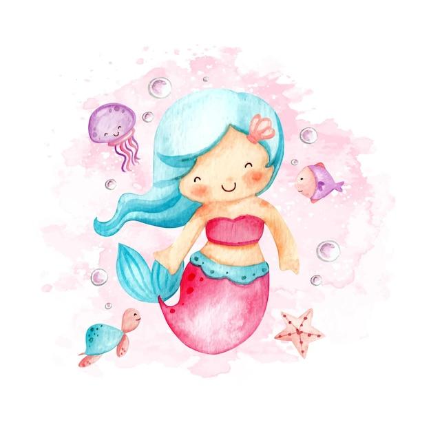 Aquarela pequena sereia fofa