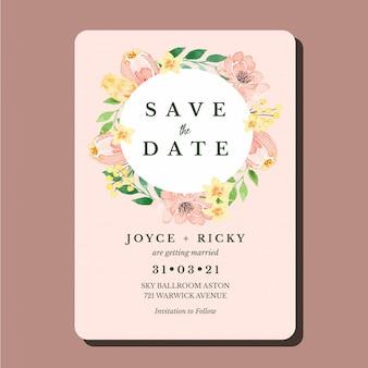 Aquarela pêssego e amarelo floral clássico salvar o modelo de convite de casamento de cartão de data