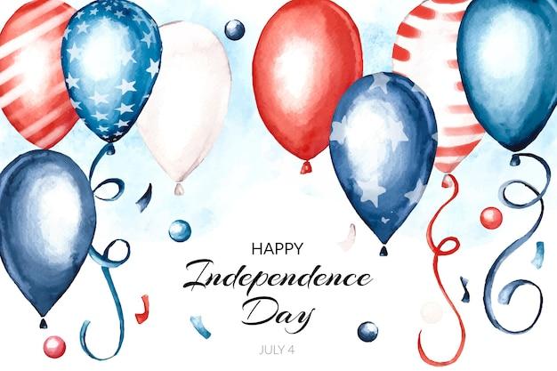 Aquarela pintada à mão 4 de julho - fundo de balões do dia da independência