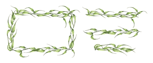 Aquarela pintada à mão banner com ramos e folhas verdes.