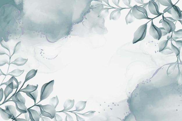 Aquarela pintada à mão com folhas de fundo azul marinho