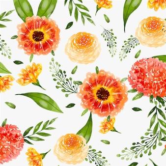 Aquarela pintada à mão com padrão floral em tons de pêssego