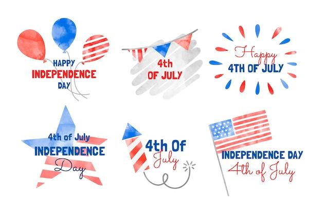 Aquarela pintada à mão em 4 de julho - coleção de emblemas do dia da independência