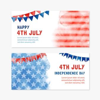 Aquarela pintada à mão em 4 de julho - conjunto de bandeiras do dia da independência