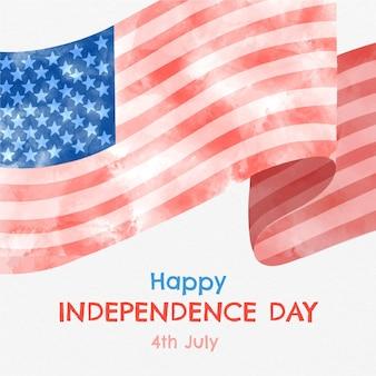 Aquarela pintada à mão em 4 de julho - ilustração do dia da independência