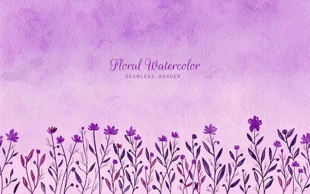 Aquarela pintada à mão flor silvestre com borda sem costura fundo floral