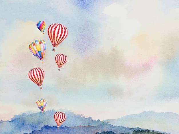 Aquarela pintada com balões de ar quente coloridos voando uma aventura de viagem sobre a montanha