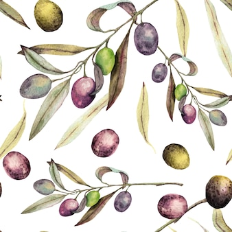 Aquarela pintada ramos de oliveira e folhas padrão sem emenda