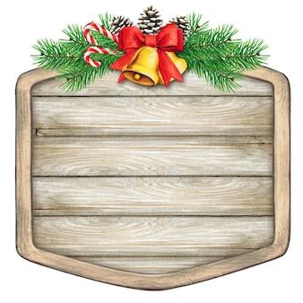 Aquarela placa de madeira em branco com sinos dourados e ramos de pinheiro