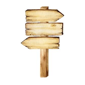 Aquarela placas de seta de madeira, vazio em branco isolado. conjunto de vintage antigo, retro banners de madeira pintados à mão, pranchas, placa.